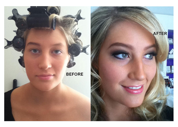 Before & After hair and makeup application